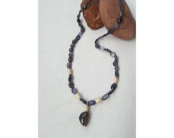 Iolite and silver necklace
