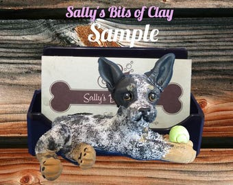 Australian Cattle / Blue Heeler Dog Business Card /Cell Phone / Post It Note Holder OOAK Sculpture by Sally's Bits of Clay