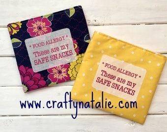 Food Allergy Alert- Safe Snacks- Reusable Snack Bags- Floral and Polka Dot
