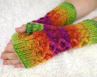 Hand Warmers Knit Fingerless Gloves Colorful Mitts Womens Fingerless Chunky Arm Warmers Womens Fingerless Wrist Warmers Hand Warmers