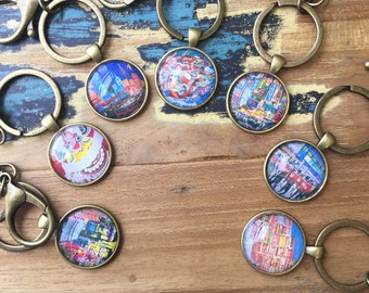 Cabochon keychain, reproduction of acrylic painting, art jewelry