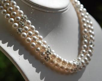 Bridesmaid Necklaces, Set of 3, White Glass Pearl, Rhinestone Ball, Swarovski Crystal, Sterling Silver, Adjustable, Bridal, Audrey