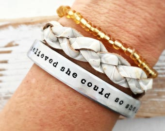 She believed she could so she did Cuff bracelet - Gift for her- Womens Day inspirational jewelry -Press for Progress- Nasty Woman - feminist