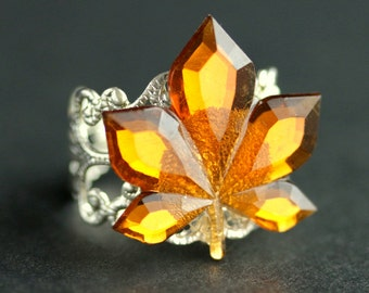 Maple Leaf Ring. Bright Amber Ring. Autumn Ring. Nature Ring. Leaf Jewelry. Adjustable Ring. Handmade Ring. Handmade Jewelry.
