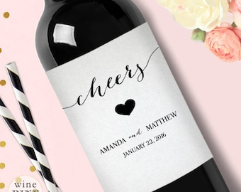 Wedding Wine Label / Engagement Wine Label / Personalized Wine Label