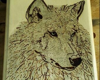 Grey Wolf Woodburning