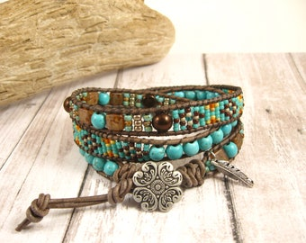 Turquoise Triple Wrap Beaded Southwest Style Adjustable Bracelet with Antique Silver Flower Button and Feather Charm