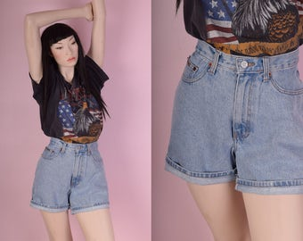 90s Deadstock Calvin Klein High Waisted Shorts/ US 8-12/ 1990s/ Denim/ High Rise/ Stone Wash