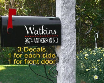Custom Mailbox Vinyl Decal-Christmas Gifts-Family Name Mailbox Decals-Address Decal-Personalized Mailbox Lettering-Mailbox Decor