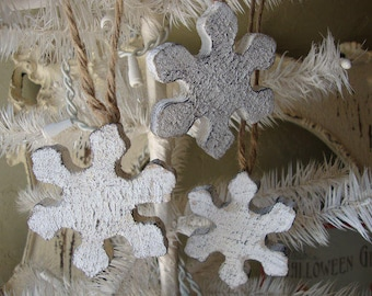 "snowflake ornaments 3"" rustic wood wall decorations Christmas home decor white rustic christmas embellishments wood crafts supplies"