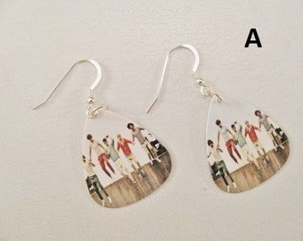 One direction earrings in sterling silver, 1D Earrings, One direction earring. 1D earring