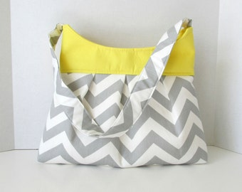 Pleated Hobo Purse PDF Pattern Sewing Chevron Shoulderbag