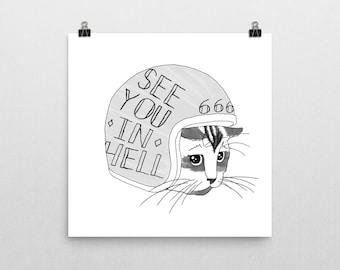 Outlaw Kitten motocycle artwork print