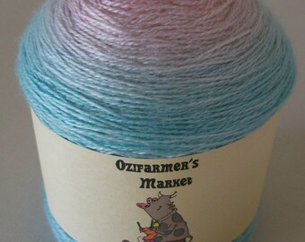 Silky Merino Lace - 100gm Gradient dyed pink to aqua laceweight yarn - Vonny's Delight
