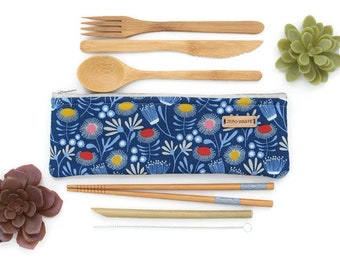 Zero Waste, Bamboo Cutlery Set, Zero Waste Cutlery, Eco Friendly, Plastic Free, Travel Utensils, Reusable Cutlery Set, Organic Floral Cotton
