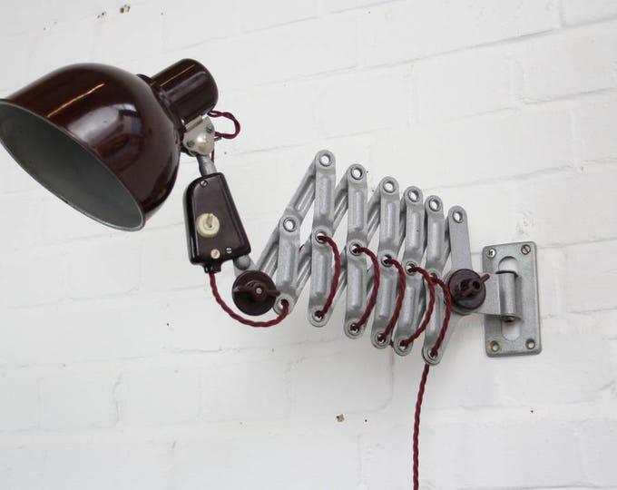 East German Industrial Scissor Lamp By Reif Circa 1950s