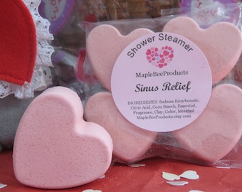 Sinus Relief Shower Steamers, Mothers Day Gift, menthol Steamer, Aromatherapy Shower Bomb, Shower Tablet, Shower Fizzy, Heart Shower Steamer