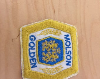 vintage beer patch, molson golden, new old stock 1970's