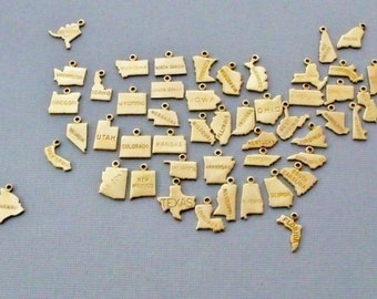 Gold State Charms, Personalized State Charms, Tiny Brass State Charms, State Charm Jewelry, All 50 State Charms, Heart Stamped State Charms