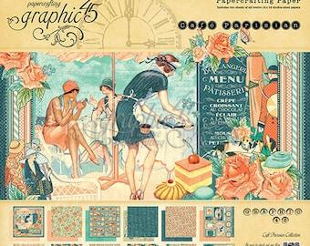 """Graphic 45 """"Café Parisian"""" 12 x 12 Paper pad Cardstock Collection"""