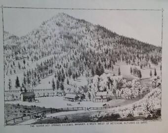 The Guyer Hot Springs. 1884 Lithograph