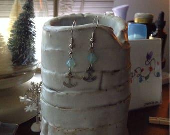 Swarovski bead anchor earrings