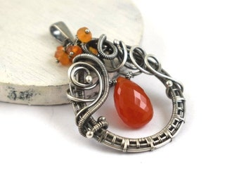 Orange wire wrapped pendant,  gemstone pendant, sterling silver jewelry