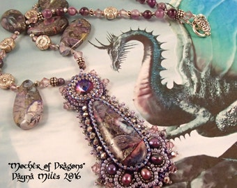 Mother of Dragons - Bead Embroidered Pendant Statement Necklace Purple Silver