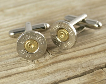 Bullet Cufflinks, Winchester 30-30 Nickel Bullet Cufflinks, Wedding Cufflinks, Wedding Cuff Links, 30-30 Cuff Links, Bullet Cuff Links