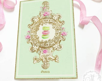 French Patisserie macaron card and gift tag printable, instant digital download, party printables, bakery cards