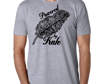 Men's Kale Shirt - Screen Printed Clothing Vegetarian Clothing - Veggie - Powered by Kale Gray and Black Shirt Vegetable Love Farmers Market