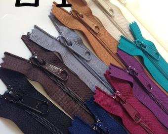 24 inch Handbag zippers, long pull, TEN pcs, YKK zippers, neutral, deep colors, teal, maroon, eggplant, black, brown, grey, beige, vanilla