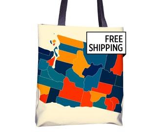 Washington Map Tote Bag - WA Map Tote Bag 15x15