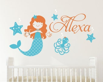 Mermaid Name Wall Decal: Ocean Under the Sea Baby Girl Nursery Personalized Underwater Wall Stickers