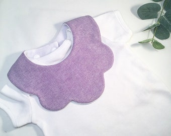 Plain purple baby bib, scalloped bib, girls bibs, drool, dribble, teething bib