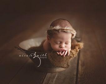 NEWBORN HALO {Dreamer} Newborn Crown - Newborn Feather Crown - Newborn Headband - Newborn Tieback - Tribal Photo Prop - Newborn Photo Prop
