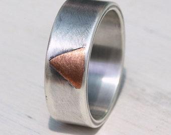 Rustic silver copper ring, silver wedding band, engagement ring, unique wedding ring, copper ring, artisan jewelry, Studioadama