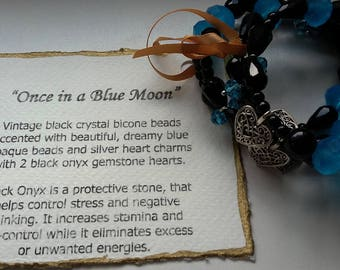 "OOAK ~ ""Once in a Blue Moon"" ~ with Black Onyx Hearts, Unique Bracelet"