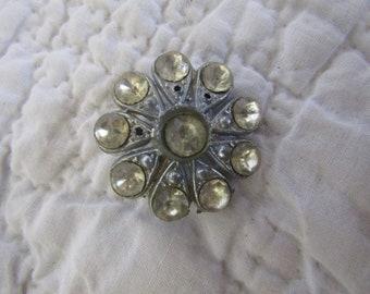 Vintage Rhinestone Button Large