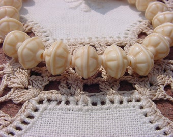 Ancient Ivory Tribal Etched Vintage Lucite Beads