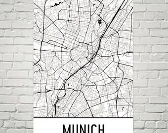 Munich Map, Munich Art, Munich Print, Munich Germany Poster, Munich Wall Art, Munich Poster, Munich Gift, Munich Decor, Munich Map Art