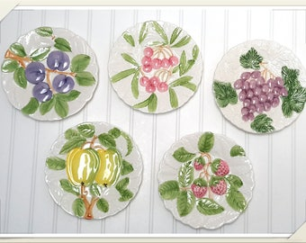 White Majolica Plates with Hand painted Summer Fruits set of 5 Farmhouse Kitchen Wall Decor Fruit Du Jour by Shafford