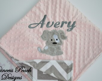Personalized Baby Blanket, Minky Blanket, Personalized Name Blanket, Puppy Applique Blanket, Puppy Blanket, Choose colors, Choose your size.