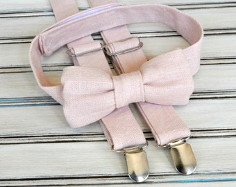 Linen Blush Bow Tie and Suspenders for Men, Youth, Boys, Mothers Day Gift