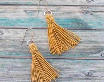 Boho tassel earrings, long tassel earrings, tassel garland earrings, yellow tassel earrings, long earrings, earings