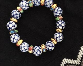 Blue & White Lotus Design Ceramic Stretch Bracelet
