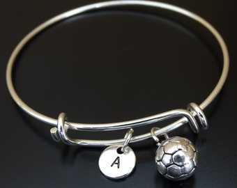 Soccer Bangle Bracelet, Adjustable Expandable Bangle Bracelet, Soccer Charm, Soccer Pendant, Soccer Jewelry, Womens Soccer, Soccer Girl