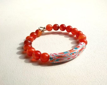 Pearl graphic polymer and amber agate beads on memory Wire Bracelet