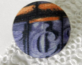 Fabric button blue with Scriptures, 40 mm / 1.57 in