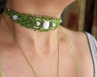 LIGHT GREEN Micro Macrame Brass Choker with Natural Job's Tears Seeds and White Glass Bead in combo with Handmade Brass beads From India